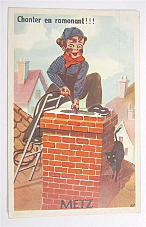 Boy Lowering Rope Down Chimney Postcard  (Image1)