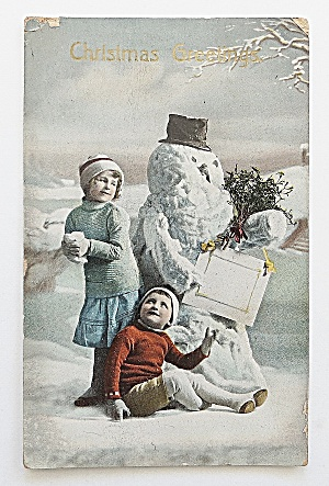 Kids By A Snowman (Image1)