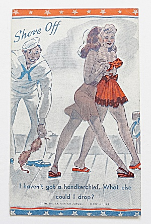 Sailor Picking Up Woman's Bikini Top (Image1)
