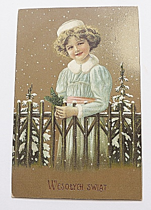 Girl In The Snow By A Fence Christmas Postcard