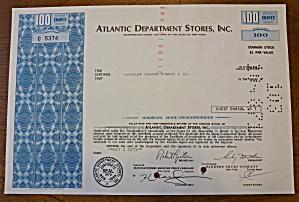 1971 Atlantic Department Stores Inc Stock Certificate (Image1)