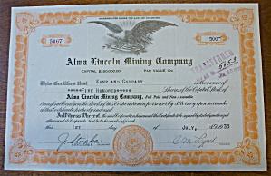1935 Alma Lincoln Mining Company Stock Certificate (Image1)