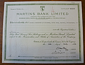 1959 Martins Bank Limited Stock Certificate (Image1)