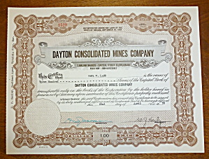 1950 Dayton Consolidated Mines Co. Stock Certificate