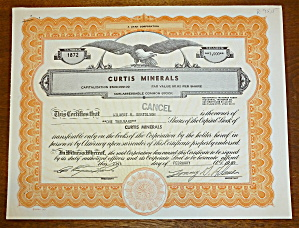 1989 Curtis Minerals Stock Certificate