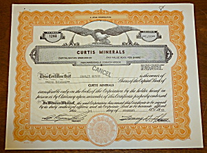 1969 Curtis Minerals Stock Certificate