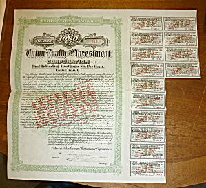 1924 Union Reality & Investment Corp. Stock Certificate