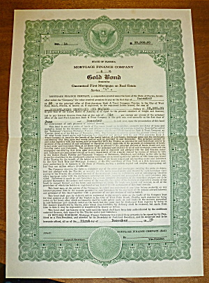 1925 Mortgage Finance Co. Gold Bond