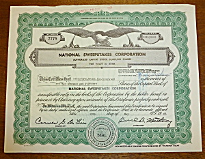 National Sweepstakes Corp Stock Certificate