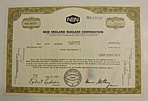 1975 New England Nuclear Corporation Stock Certificate