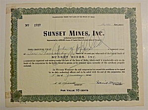 1956 Sunset Mines Inc. Stock Certificate