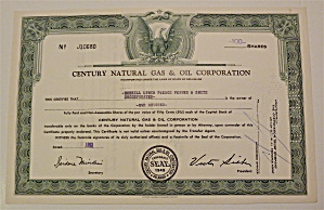 1961 Century Natural Gas & Oil Corp Stock Certificate
