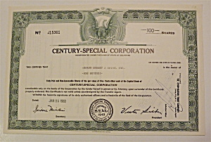 1963 Century-special Corp Stock Certificate
