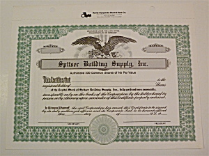 Spitser Building Supply Inc. Stock Certificate