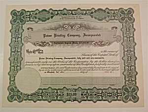 Power Printing Company Stock Certificate