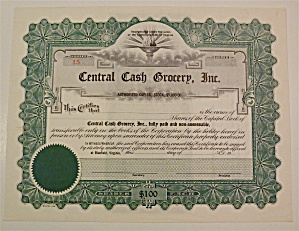 Central Cash Grocery Inc. Stock Certificate