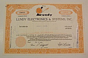 1968 Lundy Electronics & Systems Inc. Stock Certificate