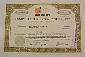 1967 Lundy Electronics & Systems Inc. Stock Certificate