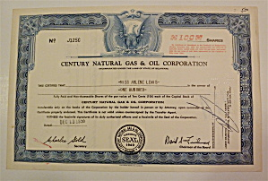 1955 Century Natural Gas & Oil Corp Stock Certificate (Image1)