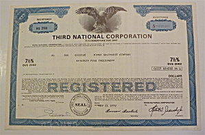 Third National Corporation Stock Certificate