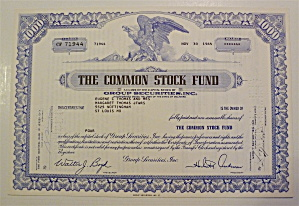 1964 The Common Stock Fund Stock Certificate