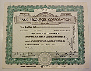 1966 Basic Resources Corporation Stock Certificate (Image1)