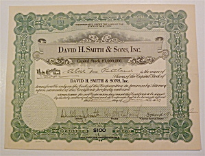 1927 David H. Smith & Sons Inc. Stock Certificate