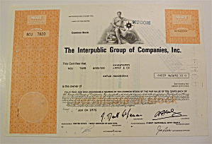 1975 Interpublic Group Of Companies Stock Certificate