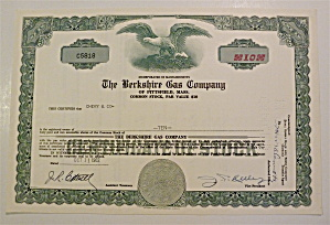 1962 Berkshire Gas Company Stock Certificate