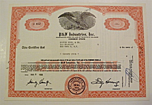 P & F Industries Inc. Stock Certificate