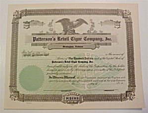 Patterson's Retail Cigar Company Inc. Stock Certificate