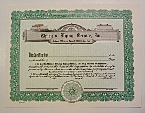 Rhiley's Flying Services Inc. Stock Certificate