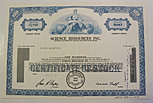 Science Resources Inc. Stock Certificate