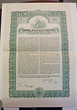 Sierra Railroad Company Stock Certificate (Image1)