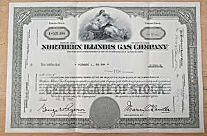 Northern Illinois Gas Company Stock Certificate 1962