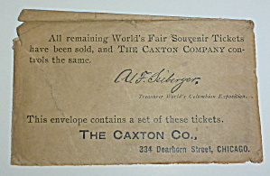 1893 Columbian Exposition Souvenir Ticket Envelope