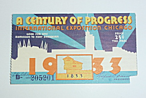 1933-34 Century Of Progress Chicago Expo Ticket
