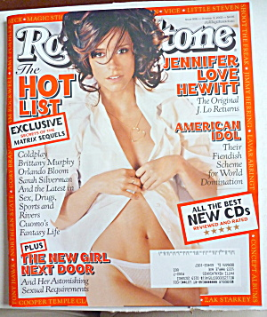 Rolling Stone Magazine October 3, 2002 Jennifer Hewitt