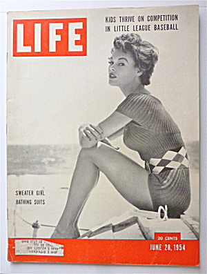 Life Magazine-june 28, 1954-sweater Girl Bathing Suits