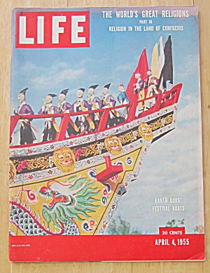 Life Magazine-april 4, 1955-earth Gods' Festival Boat