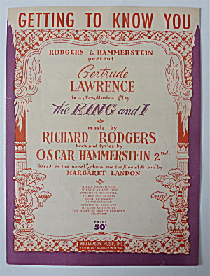 Sheet Music For 1951 Getting To Know You