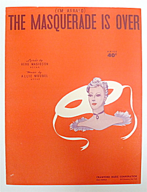 Sheet Music For 1938 The Masquerade Is Over