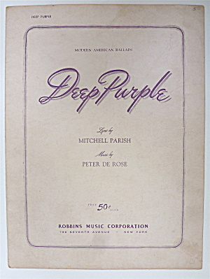 Sheet Music For 1939 Deep Purple