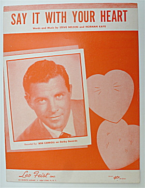 Sheet Music For 1952 Say It With Your Heart