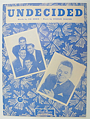 Sheet Music For 1939 Undecided