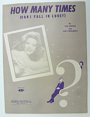 Sheet Music Of 1951 How Many Times (Can I Fall In Love)