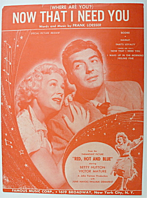 Sheet Music / 1949 (Where Are You) Now That I Need You