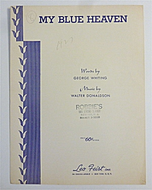 Sheet Music For 1955 My Blue Heaven