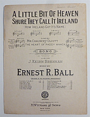Sheet Music For 1914 A Little Bit Of Heaven