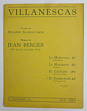 Sheet Music For 1943 Villanescas